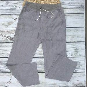 Athleta Linen Taupe Striped Drawstring Pants Sz 10